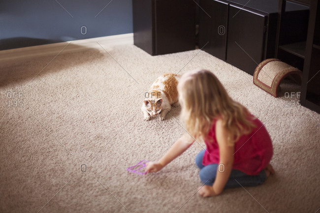 Blonde girl playing with a cat