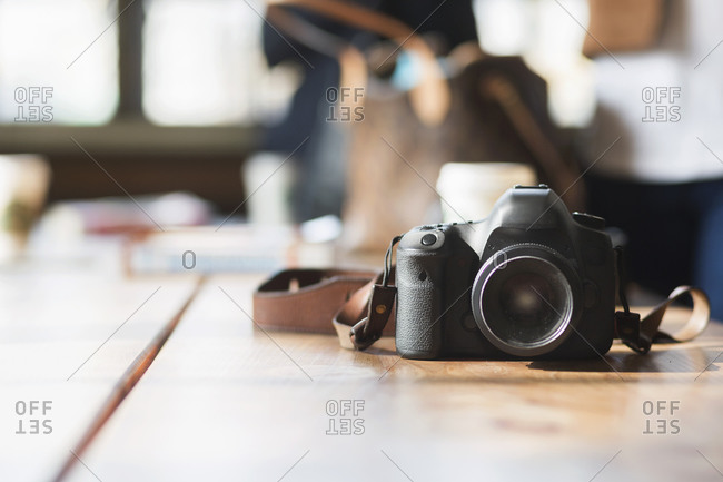 A camera on a long table