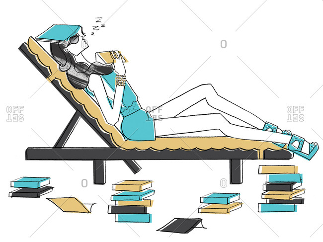 Woman sleeping surrounded by books