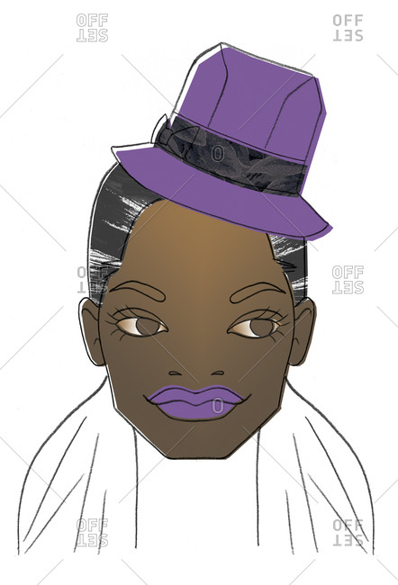 Woman's face with purple lips and hat