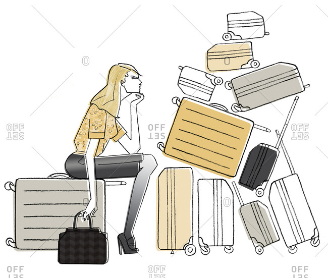 Woman sitting with luggage