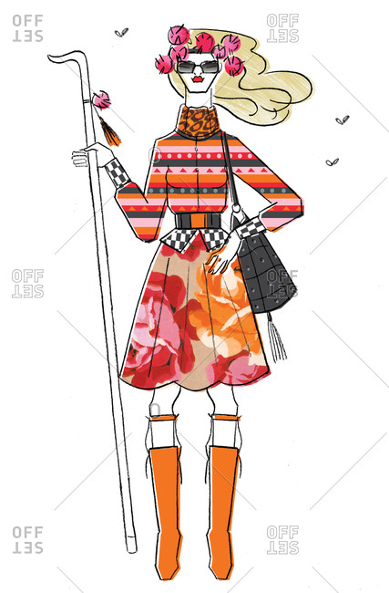 Woman in clashing patterns holding stick