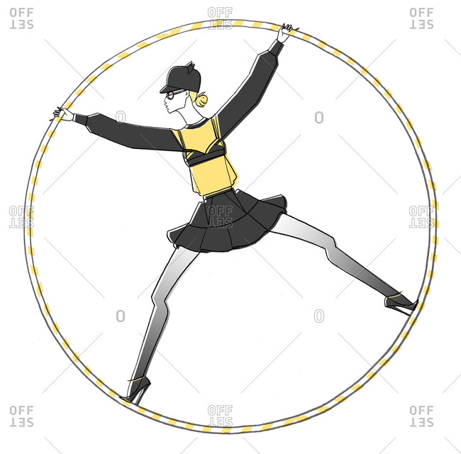 Woman spinning inside hoop