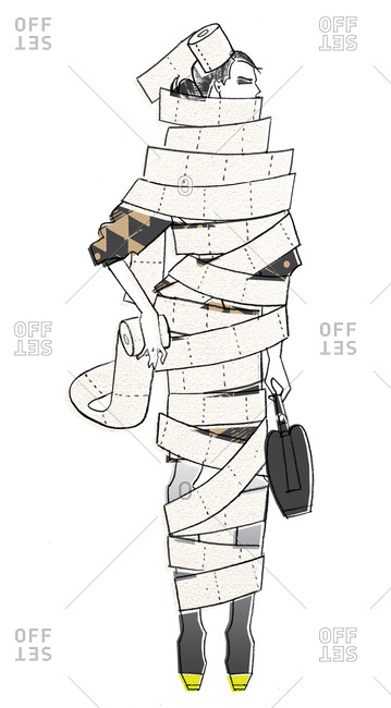 Well dressed woman wrapped in toilet paper