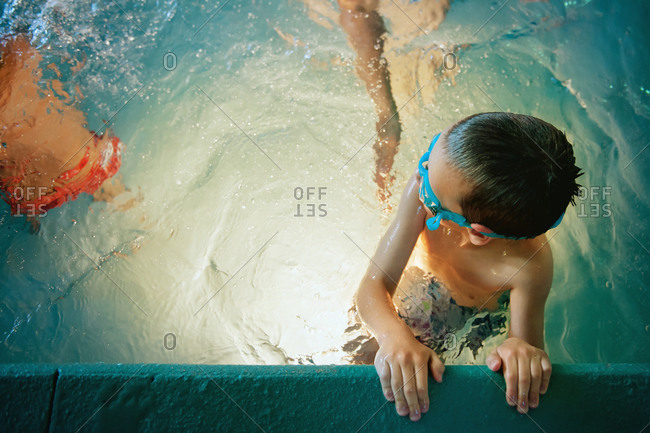 Children in a pool for swimming lessons
