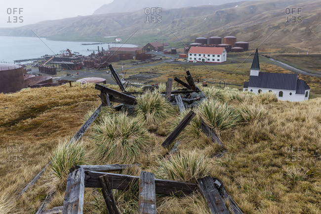 Overview of the abandoned whaling station in Grytviken Harbor, South Georgia