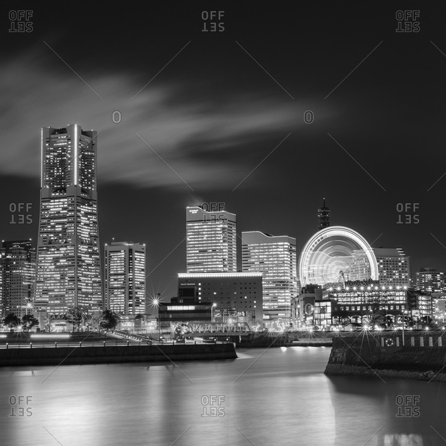 Black and white skyline of Yokohama, Japan