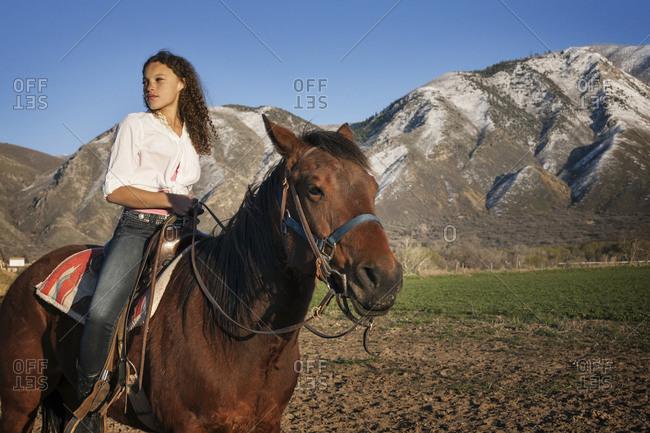A girl on horseback - Offset
