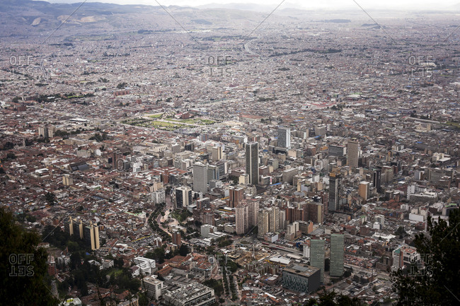 An aerial view of Bogota, colombia