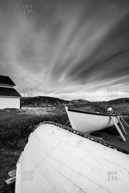 Wooden boats on the shore in Newfoundland, Canada
