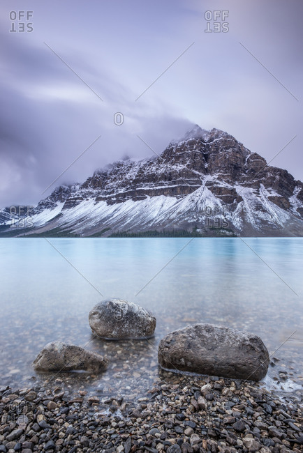 Rocks on the shore of Bow Lake, Alberta, Canada