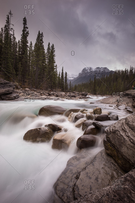 Cascading river in Mistaya Canyon, Alberta, Canada