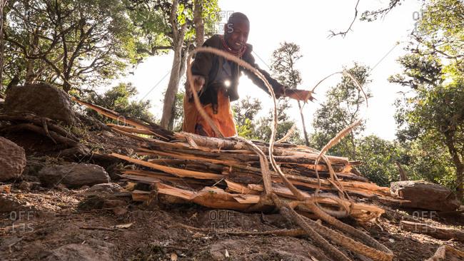 Mount Kulal, Kenya - February 23, 2015: Woman tying a bunch of firewood