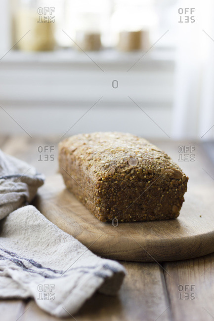 Loaf of bread made from nuts and seeds