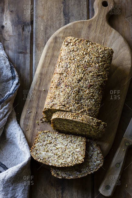 Slices of bread made from nuts and seeds