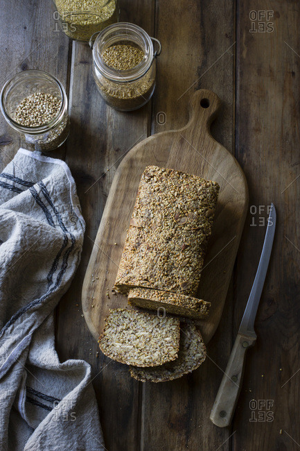 Slices of bread made from seeds and nuts