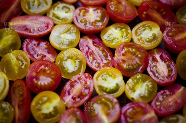 Fresh red plum tomatoes, red and yellow cherry tomatoes