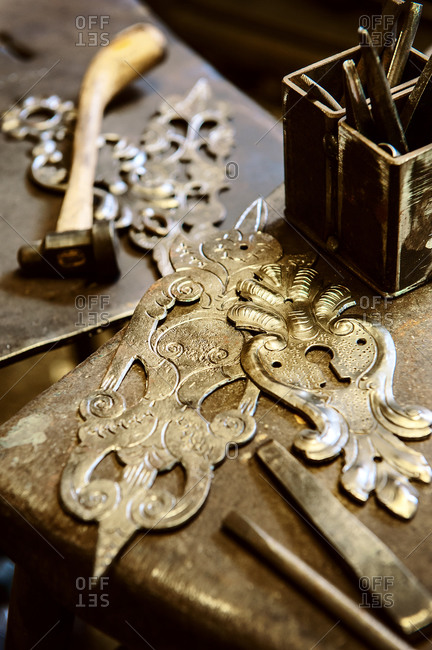 Handcrafted metal fittings with engravings