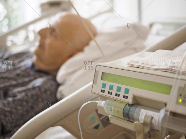 Senior man at palliative care unit