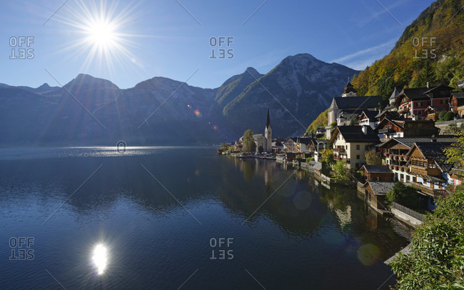View to Hallstatt and lake, Salzkammergut
