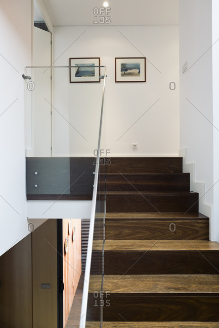 Staircase With Glass Railing In A Modern One Family House Stock Photo    OFFSET