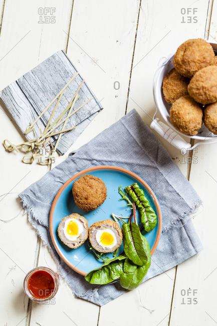 Traditional Scottish snack food, mini Scotch eggs