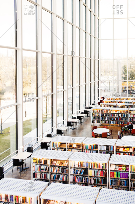 Bookshelves by the window in a library