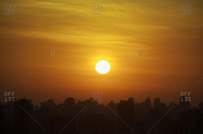 Sunset over Sao Paulo, Brazil