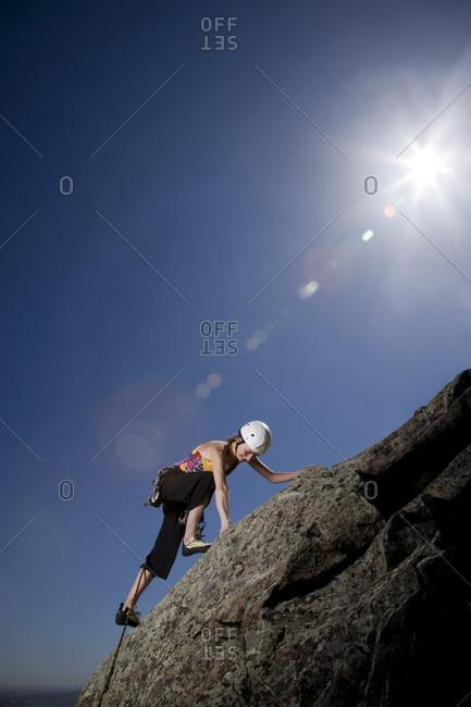 A rock climber in Boulder, Colorado