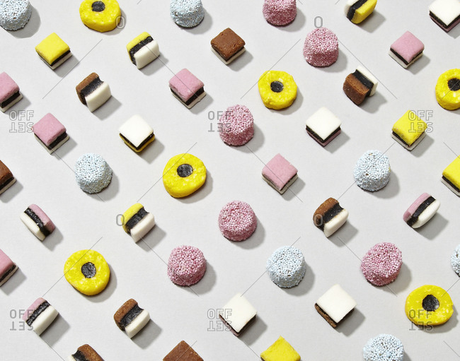 Top view of assorted licorice candies