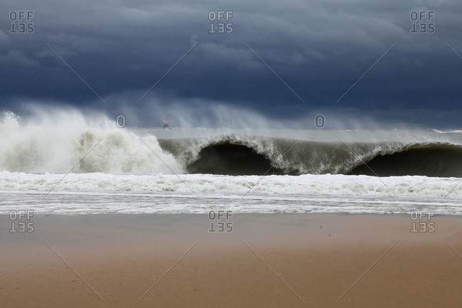 Huge waves breaking on the shore