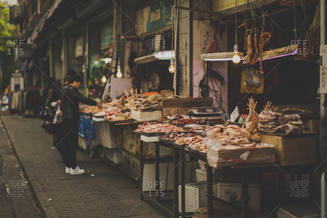 Outdoor meat market in China