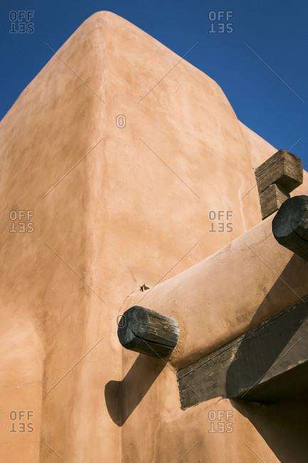 Detail of a Pueblo Revival building in Santa Fe, New Mexico