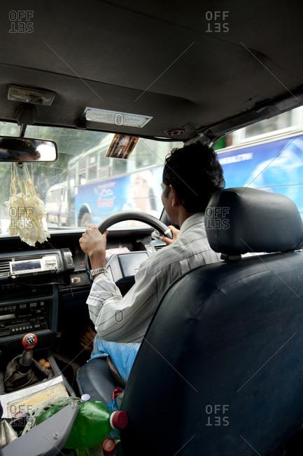 Yangon, Myanmar - August 17, 2011: Inside a taxi in Yangon, Myanmar
