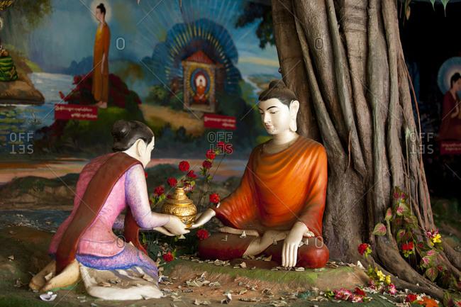 Yangon, Myanmar - August 18, 2011: Sculptures depicting life of Siddhartha Gautama, Myanmar