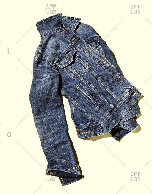 Denim jacket in studio shot