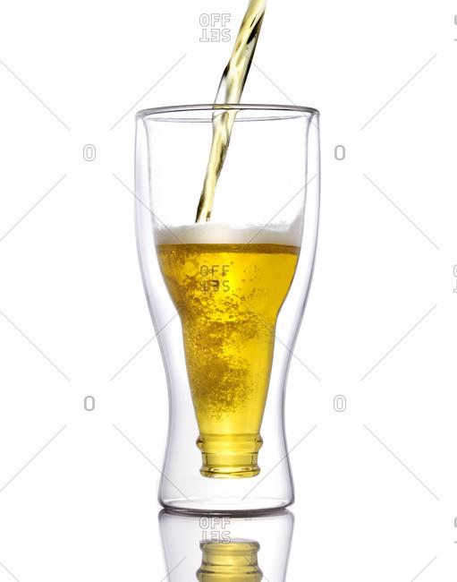 Beer glass in shape of bottle