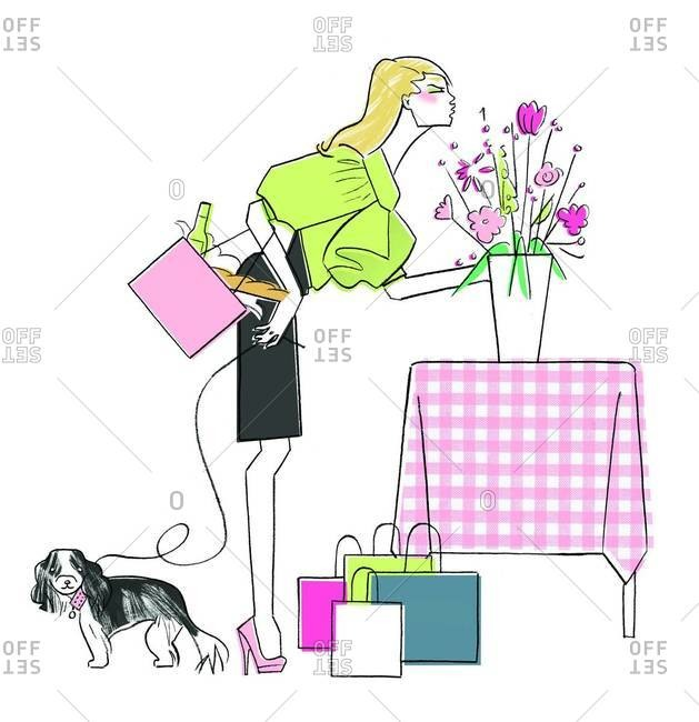 Stylized illustration of fashionable woman with pet dog, shopping bags and flower arrangement on table
