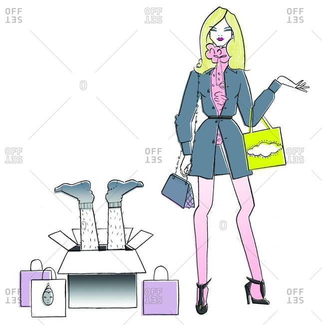Stylized illustration of fashionable woman standing next to box with man's legs sticking out