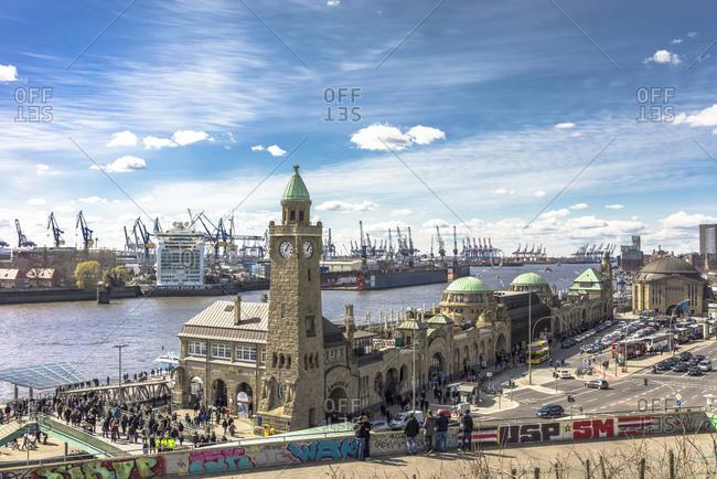 Hamburg, Germany April 25, 2015: St Pauli Landing Stages, Hamburg