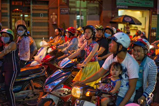Saigon, Vietnam - November 15, 2014: Motorbike traffic