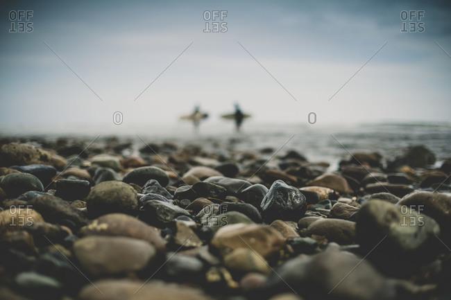 Wet pebbles on a seacoast