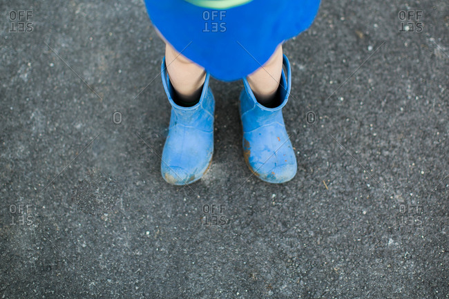 Young child's boots on wrong feet