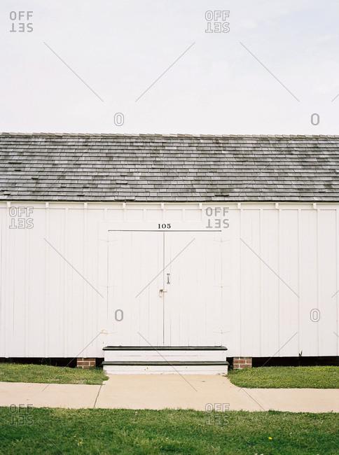 Doorway of rural white shed