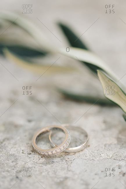 Diamond wedding rings on stone
