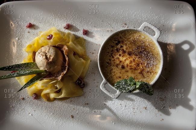 Creme brulee and ice cream dessert plate
