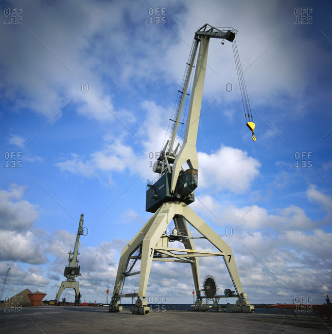 An empty crane at a port