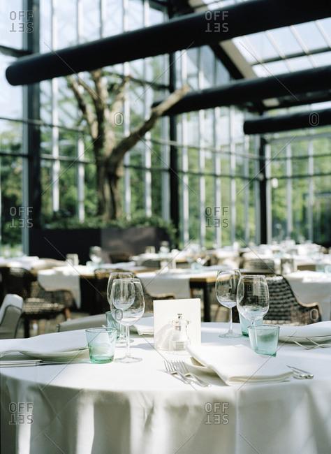 A set table in a restaurant atrium