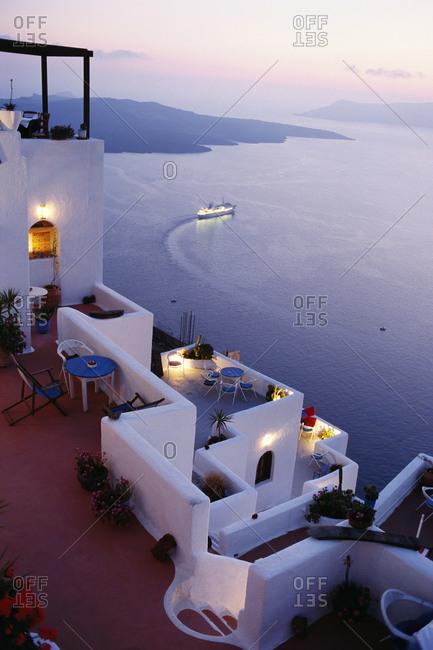 A patio in Santorini, Greece
