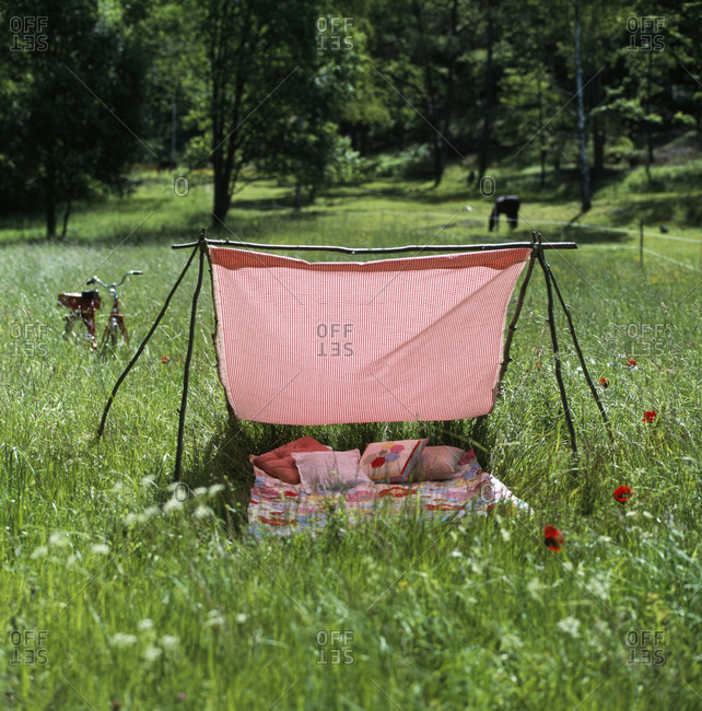 A blanket set up for shade in a meadow